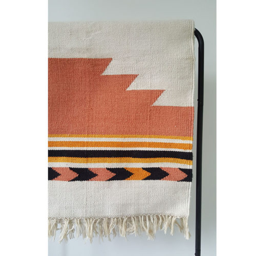 Bonam Home, dhurrie rug, recycled plastic bottles, upcycling, sustainable living, southwestern style, handmade, India, eco&fair, vegan rug, burnt orange rug