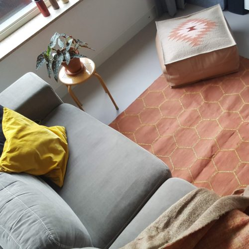 spiced latte cotton dhurrie rug, boho leather pouf, handmade in india, eco & fair. organic cotton, lead free azo free dyes, Bonam Home