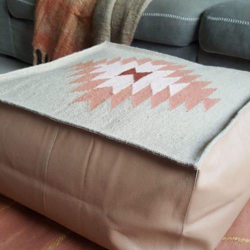 boho leather pouf, handmade, dhurrie, wool, scandinavian, footstool, lounging, india, eco & fair, new zealand wool, buffalo leather, bonam home