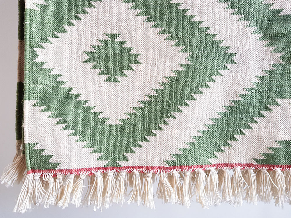 Green Cotton Dhurrie Rug