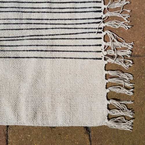 Bonam Home Handmade rug, organic cotton, lead free dyes, flatweave, dhurrie rug, burnt orange print, seventees style, vegan rug, India, ethically made